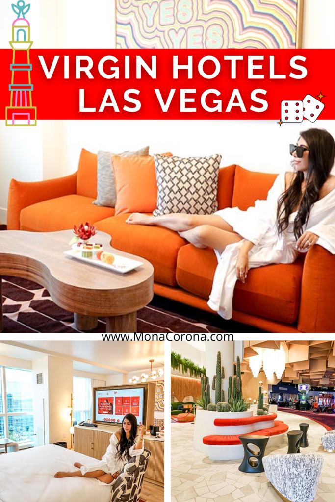 Best new hotel in Las Vegas Nevada! Welcome to Virgin Hotels Las Vegas. If you're wondering where to stay in Vegas, look no further! This amazing Vegas resort is located right off the Las Vegas Strip, and has some of the best restuarants in Vegas, pool parties, an awesome Vegas club with live music and DJs, and so much more. Virgin Hotels Las Vegas is perfect from a girls trip, bachelorette (or bachelor) party, or a fun couples trip. There are also no resort fees and free parking! Click for more